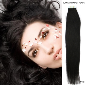 "16"" 40cm 30gram 20pcs/set Tape in remy human hair extensions #1B natural black"
