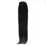 "18"" 45cm 70gram 7pcs/set Clips in remy human hair extensions #1B natural black"