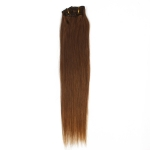 "18"" 45cm 70gram 7pcs/set Clips in remy human hair extensions #6 dark chocolate brown"