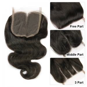 middle part 8inch virgin hair lace closure 4X4 closure Body wave 20cm 130% density