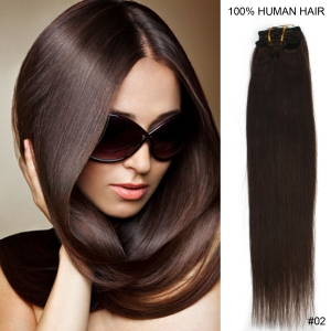 "15"" 38cm 70gram 7pcs/set Clips in remy human hair extensions #2 dark brown"