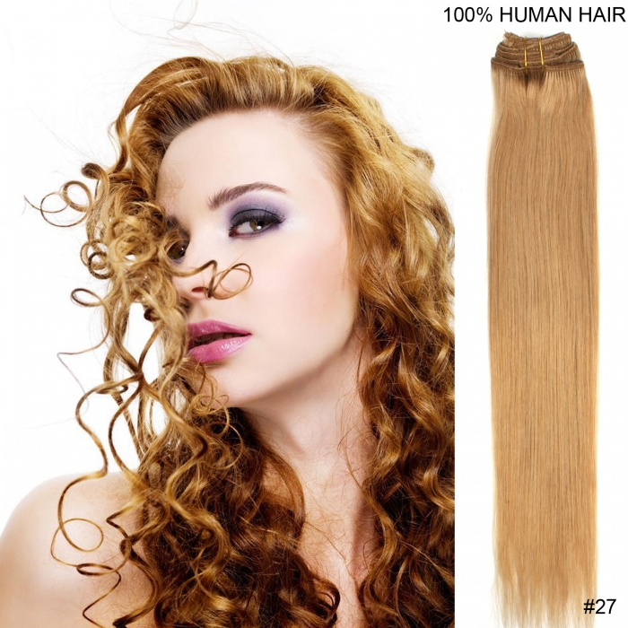 22 55cm 80gram 7pcsset Clips In Remy Human Hair Extensions 27