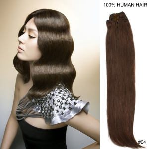 "15"" 38cm 70gram 7pcs/set Clips in remy human hair extensions #4 Medium brown"